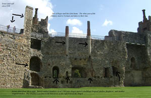 Annotated photo of the great hall at Framlingham Castle