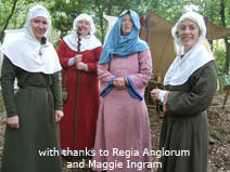 Medieval re-enactment, women wearing traditional wimples