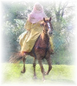 Medieval woman on horseback